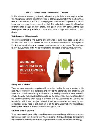 ARE YOU THE GO-TO APP DEVELOPMENT COMPANY
