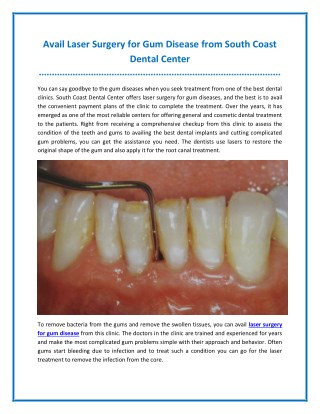 Avail Laser Surgery for Gum Disease from South Coast Dental Center