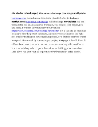 site similar to backpage   Alternative to backpage  backpage northplatte