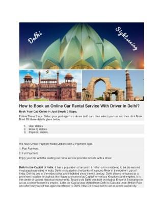 Car Rental Delhi With Driver