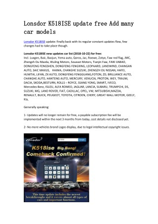 Lonsdor K518ISE update free Add many car models