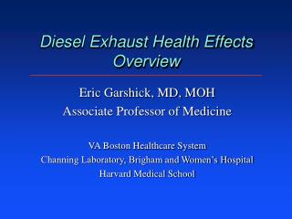 Diesel Exhaust Health Effects  Overview