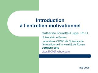 Introduction  à l'entretien motivationnel