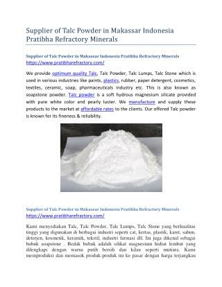 Supplier of Talc Powder in Makassar Indonesia Pratibha Refractory Minerals