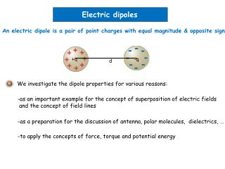 An electric dipole is a pair of point charges with equal magnitude  opposite sign
