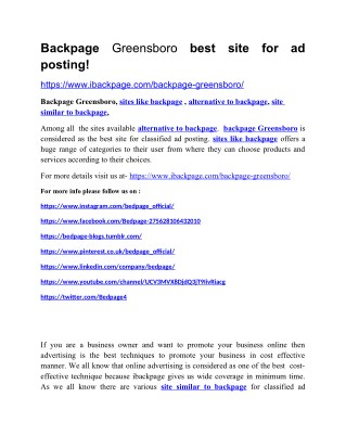 Backpage Greensboro best site for ad posting!