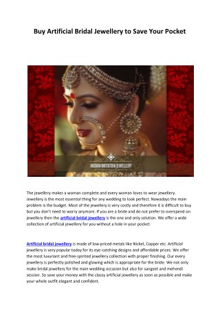 Buy artificial bridal Jewellery to save your pocket