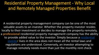 Residential Property Management - Why Local and Remotely Managed Properties Benefit