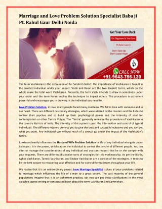 Marriage and Love Problem Solution Specialist in Delhi Noida