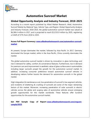 Automotive Sunroof Industry