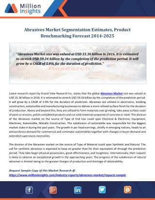 Abrasives Market Segmentation Estimates, Product Benchmarking Forecast 2014-2025