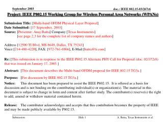 Project: IEEE P802.15 Working Group for Wireless Personal Area Networks (WPANs) Submission Title:  [ Multi-band OFDM Phy