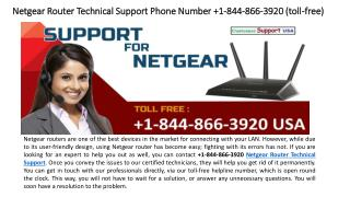 Netgear Router Technical Support Phone Number 1-844-866-3920 (toll-free)