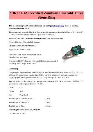 2.36 ct GIA Certified Zambian Emerald Three Stone Ring Gemstone