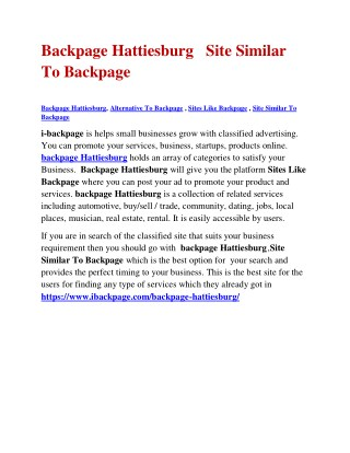 Backpage Hattiesburg Site Similar To Backpage