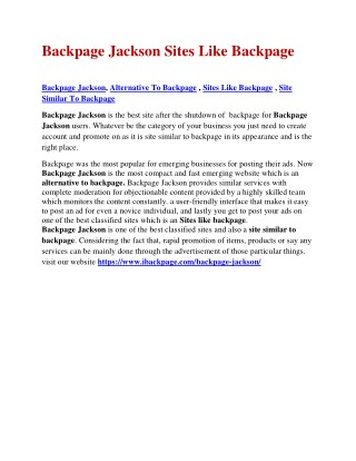 Backpage Jackson Sites Like Backpage