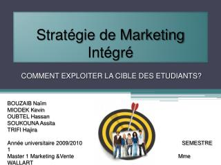 Strat gie de Marketing Int gr