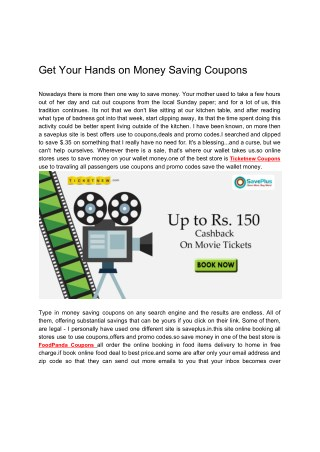 Get Your Hands on Money Saving Coupons
