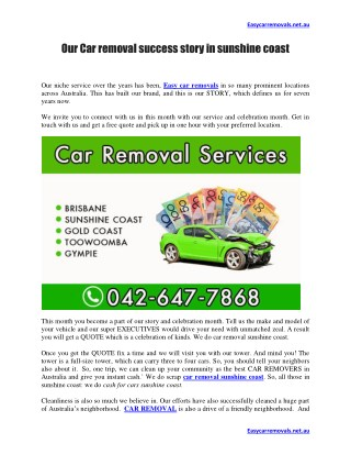 Our Car removal success story in sunshine coast