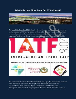 Intra African Trade Fair 2018 in Egypt | Intra-African Trade Fair