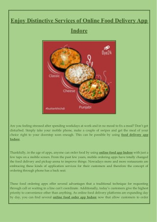 Enjoy Distinctive Services of Online Food Delivery App Indore