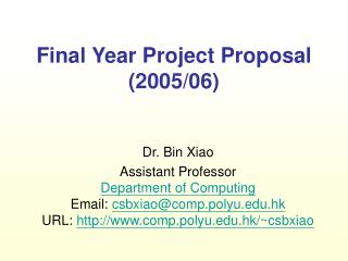Final Year Project Proposal (200 5/06)