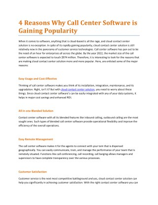 4 Reasons Why Call Center Software is Gaining Popularity