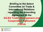 Briefing to the Select Committee on Trade  International Relations regarding the Amending Agreement to the  SA-EU Trade,