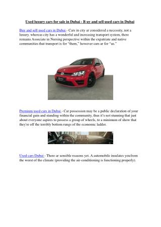 Sell your Car Dubai - Used luxury cars for sale in Dubai - B uy and sell used cars in Dubai