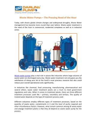 Wide Range of Waste Water Pumps India
