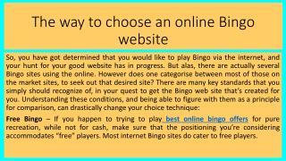 The way to choose an online Bingo website