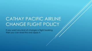 Cathay Pacific Change Reservation