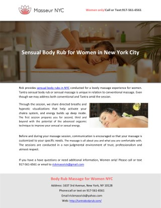 Sensual Body Rub for Women in New York City