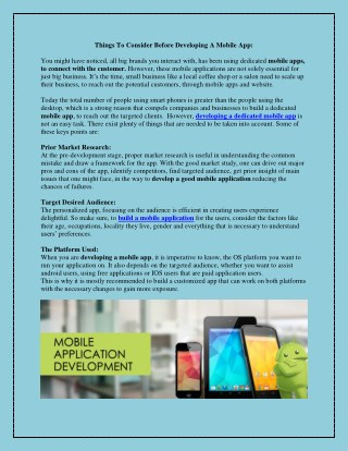 Things To Consider Before Developing A Mobile App: