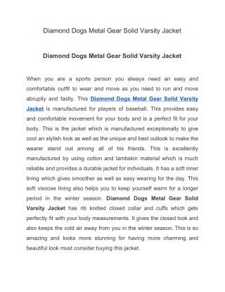 Diamond Dogs Metal Gear Solid Varsity Jacket