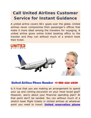 Call United Airlines Customer Service for Instant Guidance