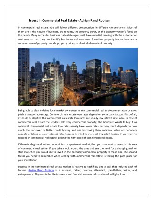 Commercial Real Estate Investment - Adrian Rand Robison