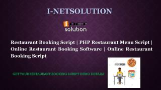 Know the Benefits of using Online Restaurant Booking Software | Online Restaurant Booking Script | i-netsolution