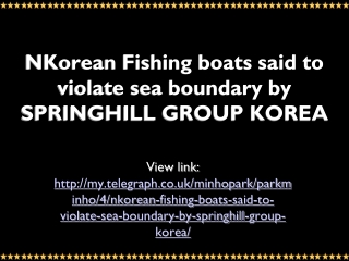 MyTelegraph: Bookrix: SPRINGHILL GROUP KOREA:   NKorean Fish