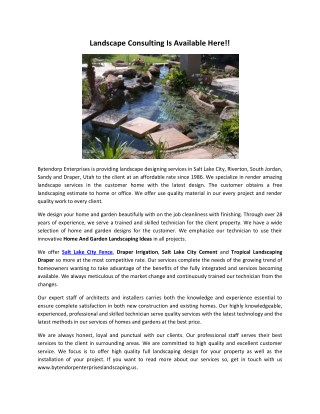 Landscape Consulting Is Available Here!!
