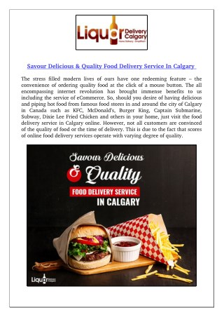 Savour Delicious & Quality Food Delivery Service In Calgary