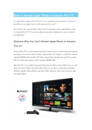How to Stream Apple Music to Amazon Fire TV