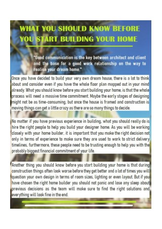 What You should Know before You Start Building Your Home