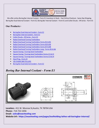 Radial Overhead Turning Toolholders Forms B1 & B2
