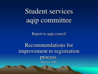 Student services aqip committee