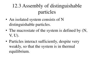 12.3 Assembly of distinguishable particles