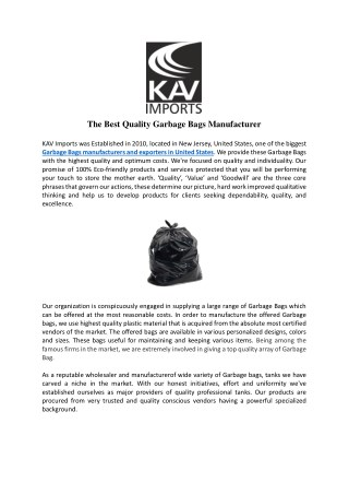 The Best Quality Garbage Bags Manufacturer