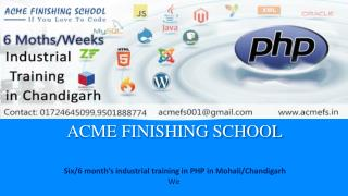 Six/6 months weeks industrial training in PHP | PHP Training in Mohali ,Chandigarh