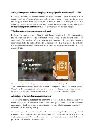 Society Management Software: Keeping the Integrity of the Residents with 1 Click