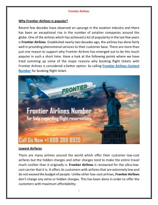 Dial Frontier Airlines Phone Number   1 888 388 8920 for Instant Help